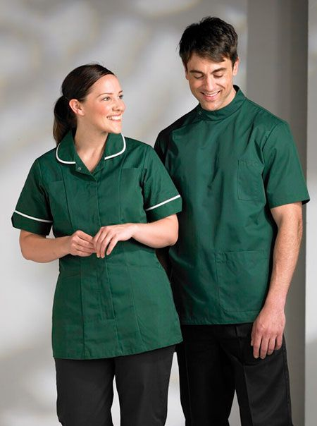 Porter would wear a brown tunic because he is working in a hospital - hospital porter