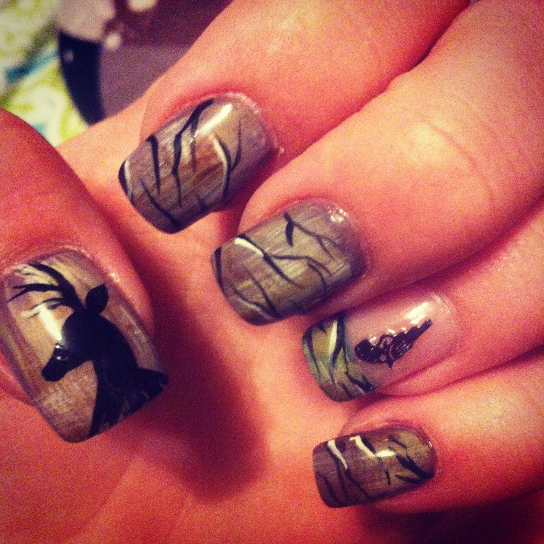 Country girl nails, love it! - Nailart #camo #deer #redneck #gun Love My New Nails Nails