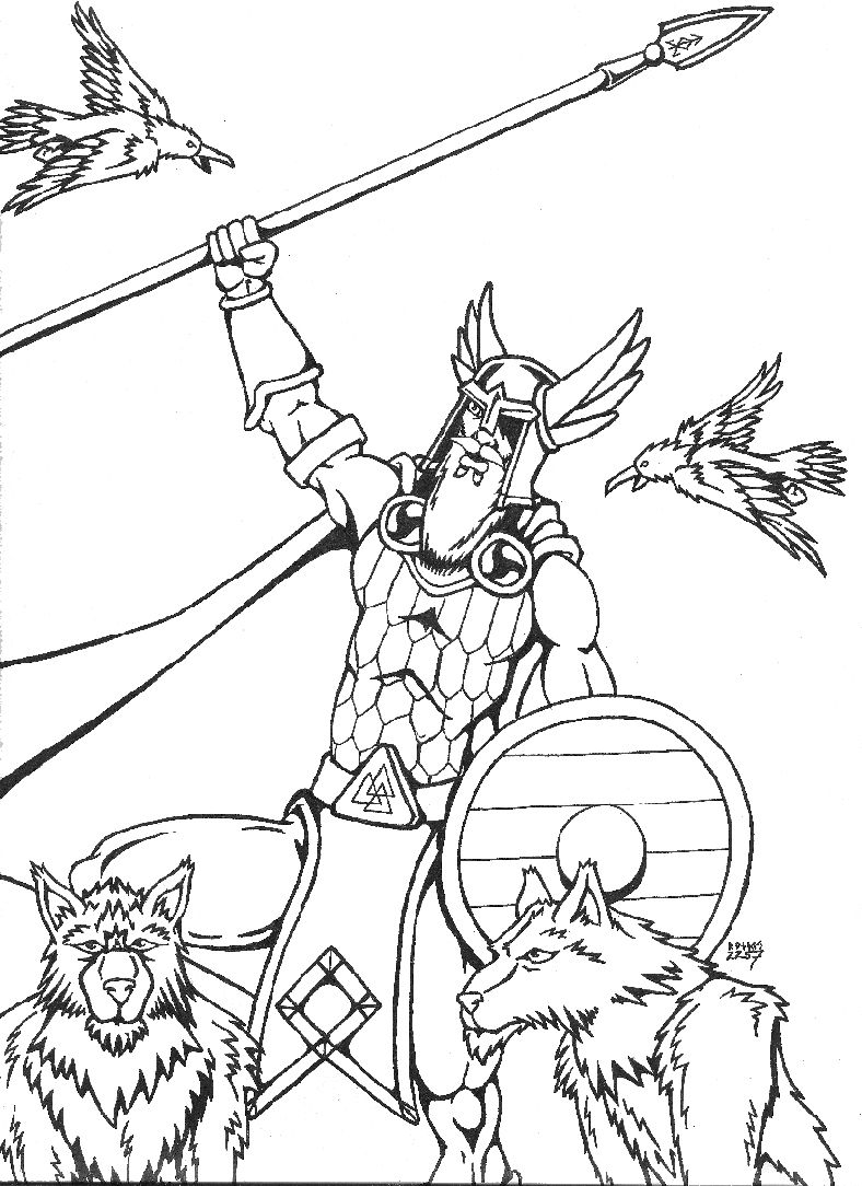 Odin As The Valfather By RandverDansson Coloring Page