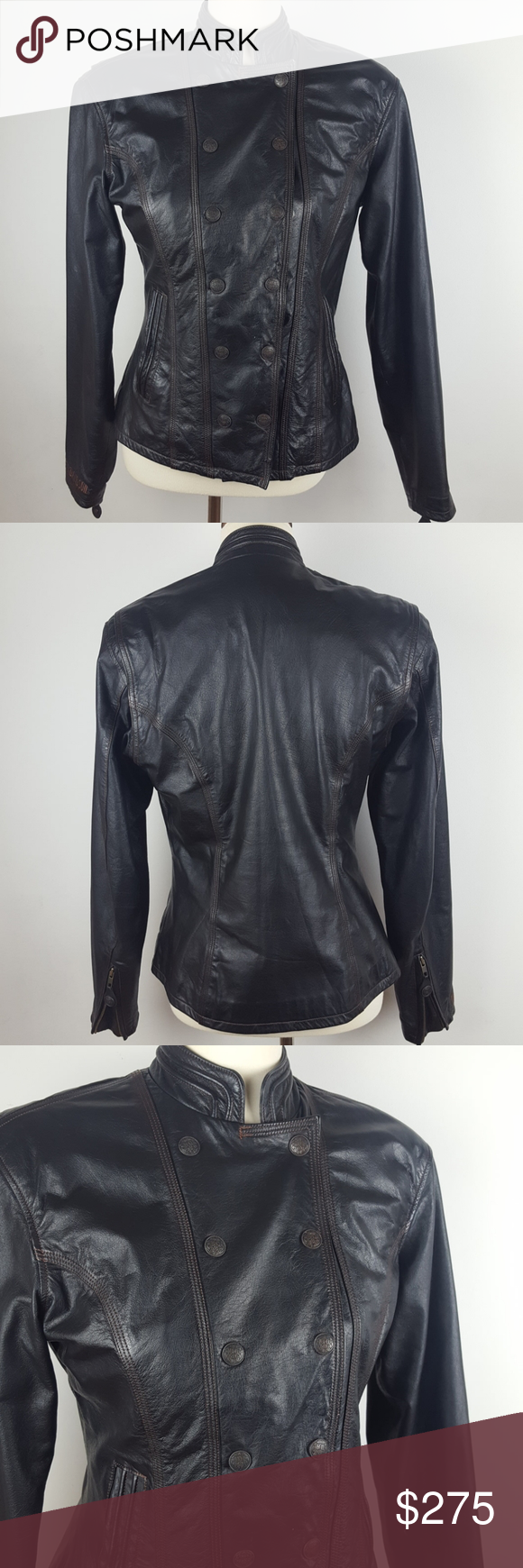 Harley-Davidson Leather Jacket Harley-Davidson leather jacket. Size Small. In good condition! Beautiful fitted style. Fully lined. Mandarin collar. Inside pocket. Side pockets with snaps. HD logo on all the hardware. Inside zip and snaps. Zipper on sleeves with a pleated feature. Pleat on shoulder for wider range of motion. Little bit of wear on top of right shoulder, but hardly noticeable (see picture #5.) Could be used for outerwear or as a dressy casual jacket!  #0707 ◾Length 24