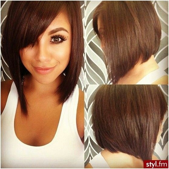 Long A Line Bob With Side Swept Bang Love Pinterest Hair