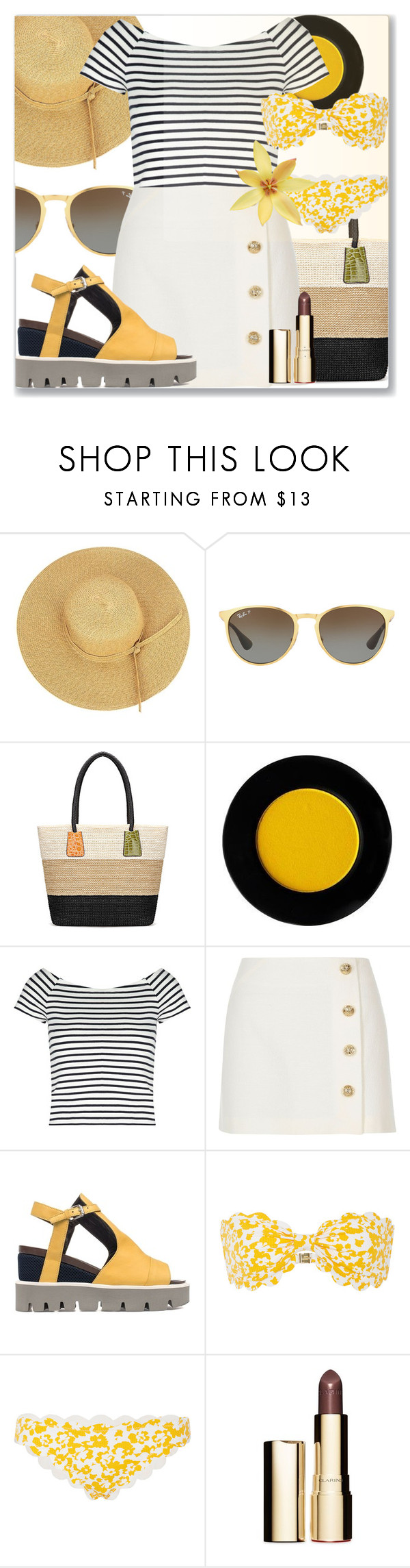 """Summer brunch"" by jan31 ❤ liked on Polyvore featuring Ray-Ban, Lipsy, River Island, Strategia, Marysia Swim and Clarins"