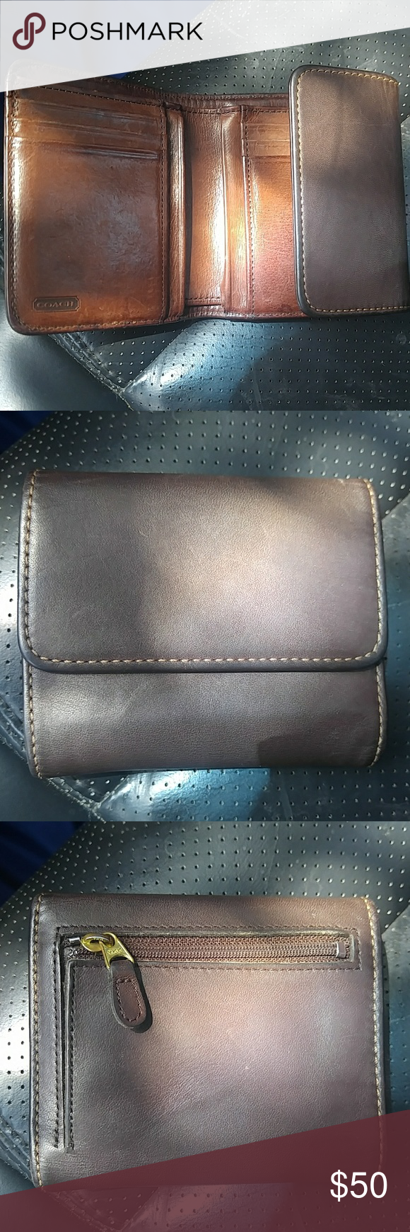 Vintage Coach Leather Compact Wallet Preloved but still has so much life  left. In good used vintage condition. Minor stitching undone at inner bill  slot ... c7df63f182e0d