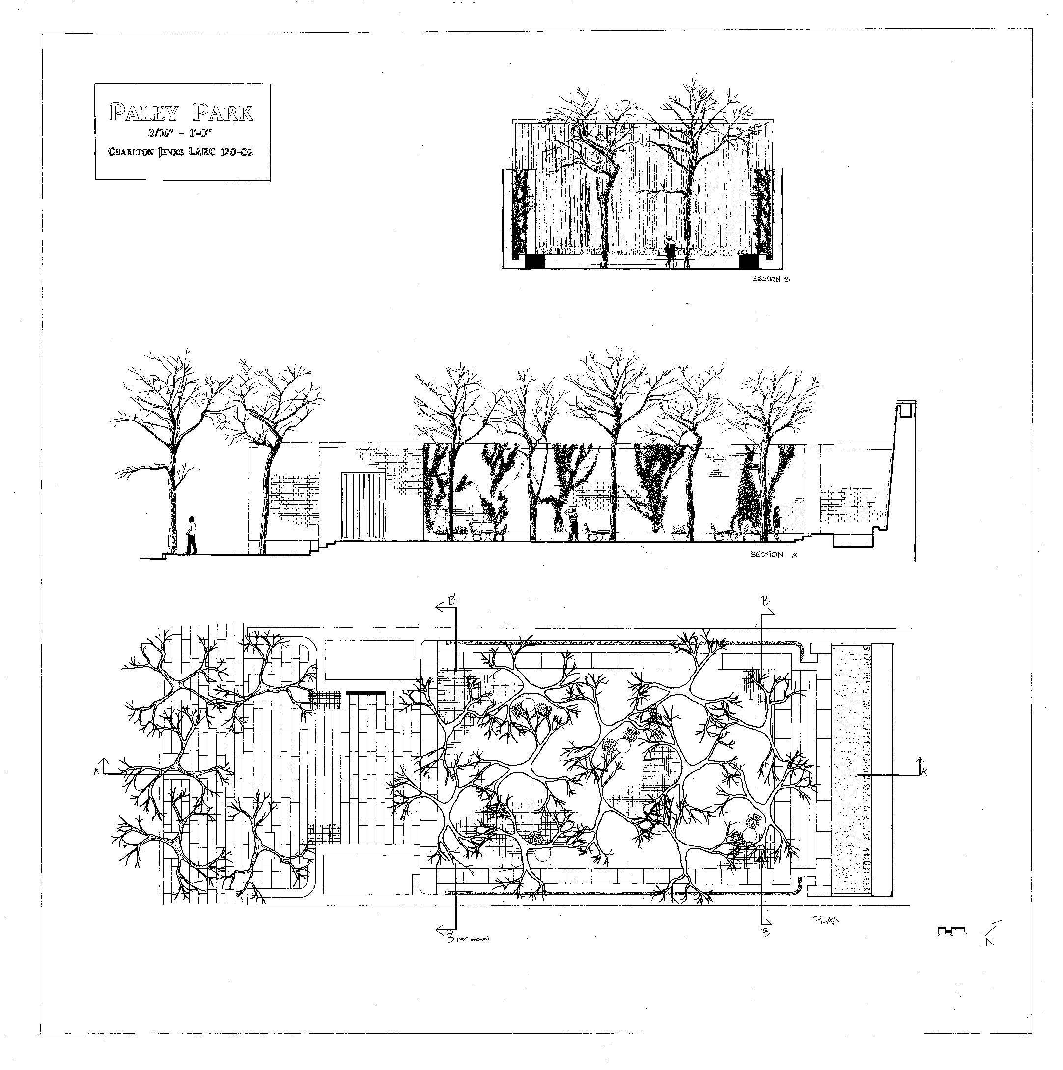 Paley Park Plan And Section Landscape Design Landscape Architecture Graphics Landscape Diagram