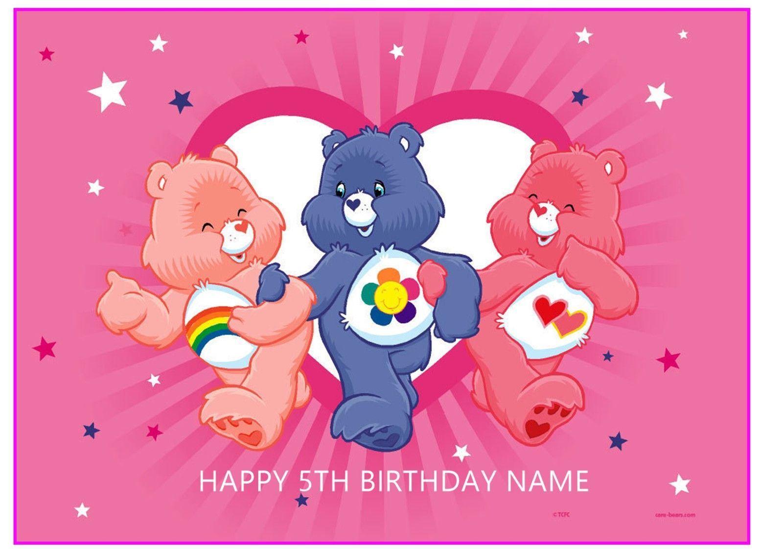 Care bears a4 rectangle edible icing sheet birthday party