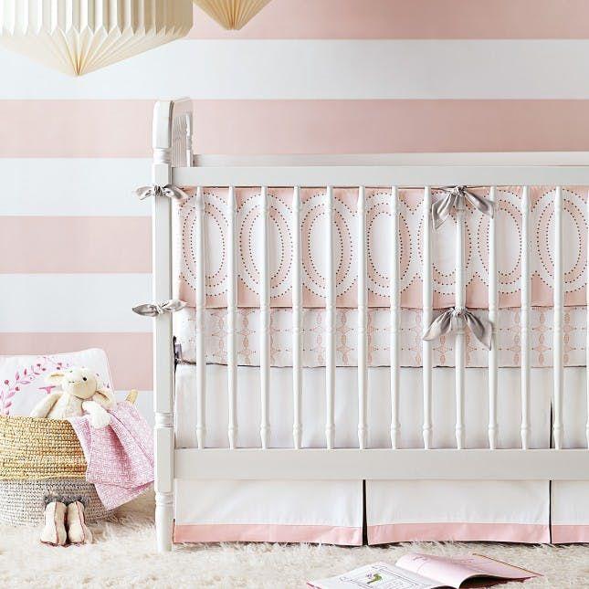 24 Bold Ideas for Striped Walls Girl nursery bedding