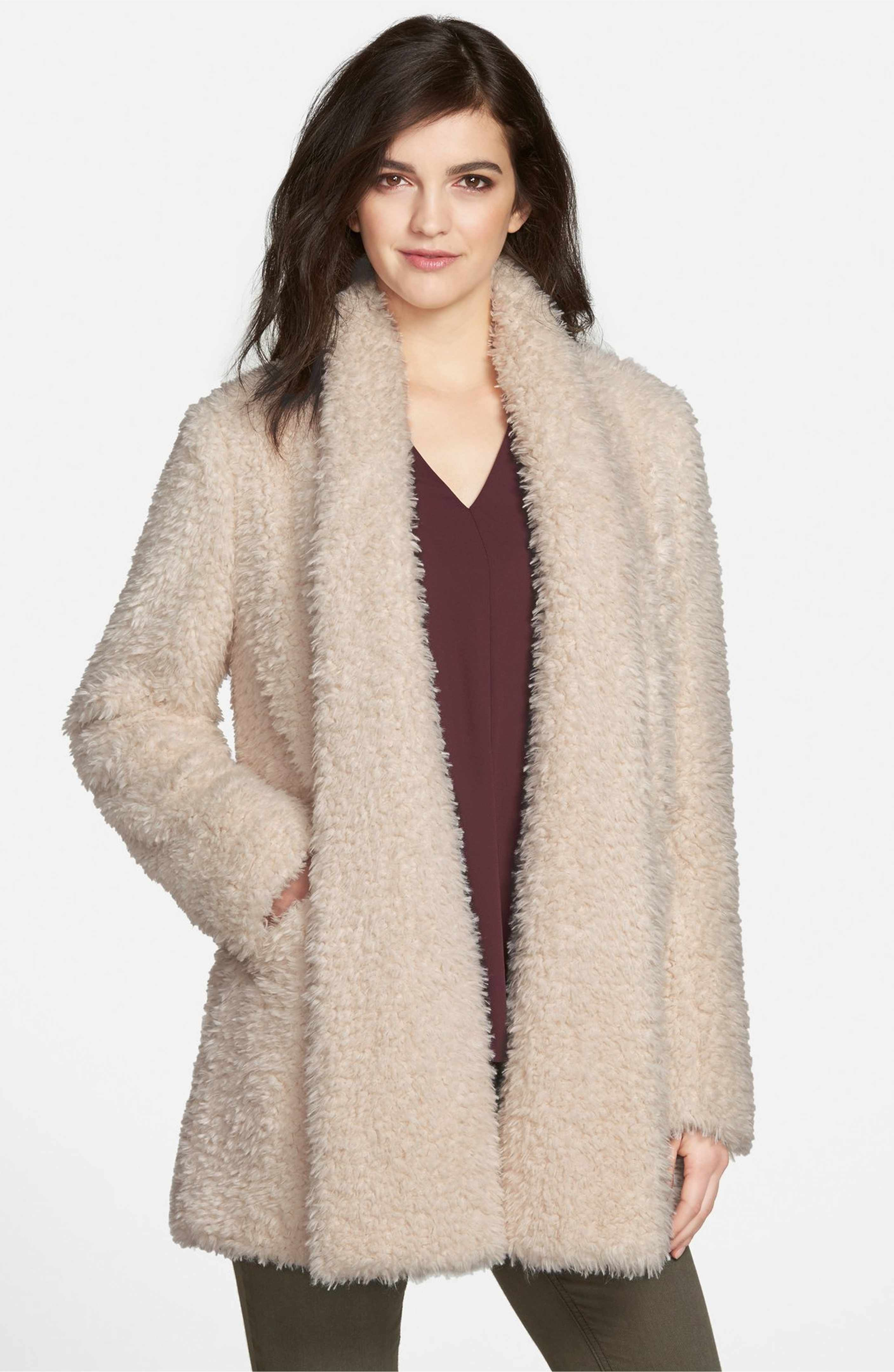 9e1e51e056720 Main Image - Kenneth Cole New York  Teddy Bear  Faux Fur Clutch Coat ...