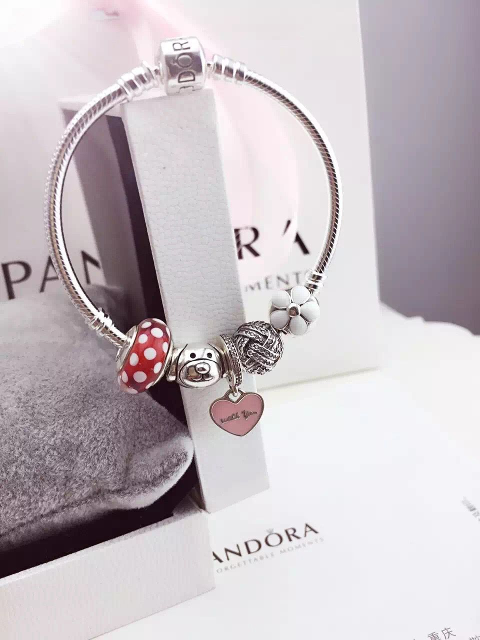 50% OFF!!! $159 Pandora Charm Bracelet Red Pink White. Hot Sale!!! SKU: CB01788 - PANDORA Bracelet Ideas