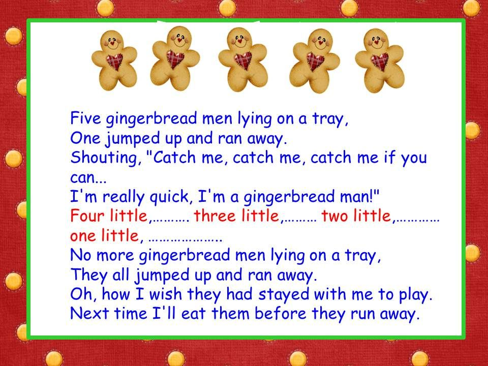 Five Little Gingerbread Men song Gingerbread man song