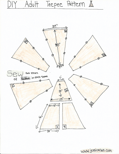 jessica nan diy adult teepee tutorial sewing. Black Bedroom Furniture Sets. Home Design Ideas