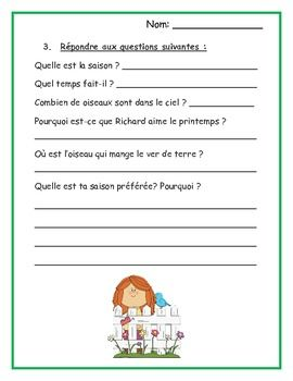 french reading comprehension worksheets spring fran ais 1 teaching french french. Black Bedroom Furniture Sets. Home Design Ideas