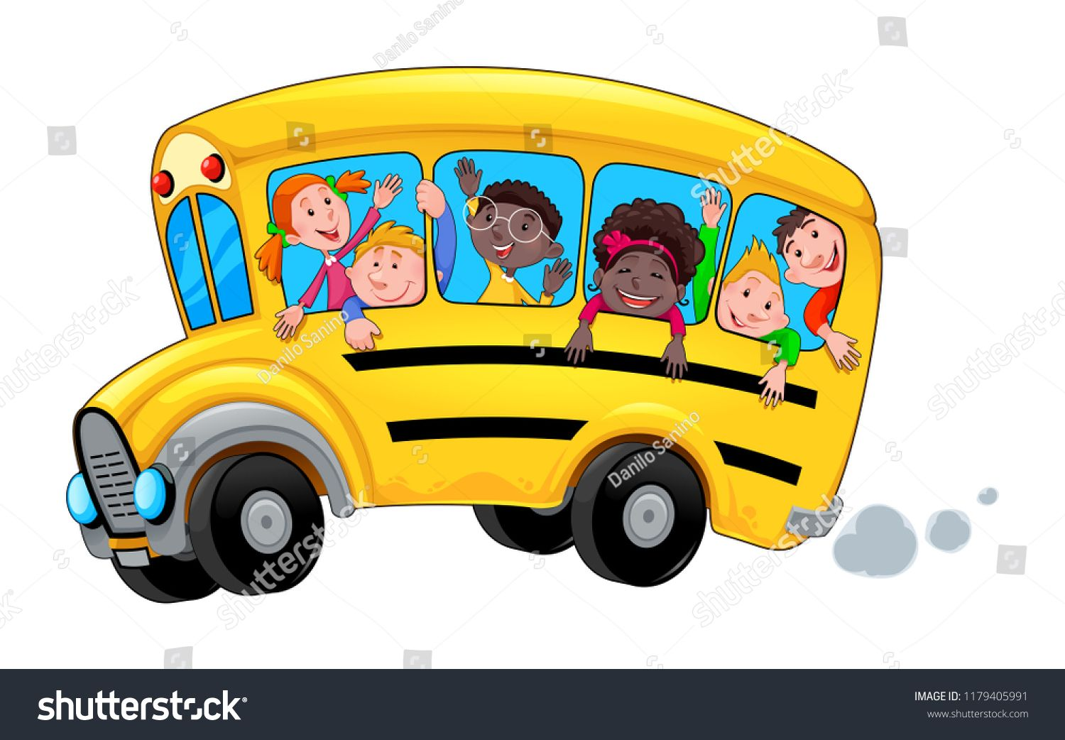 Cartoon School Bus With Happy Child Students Vector Isolated