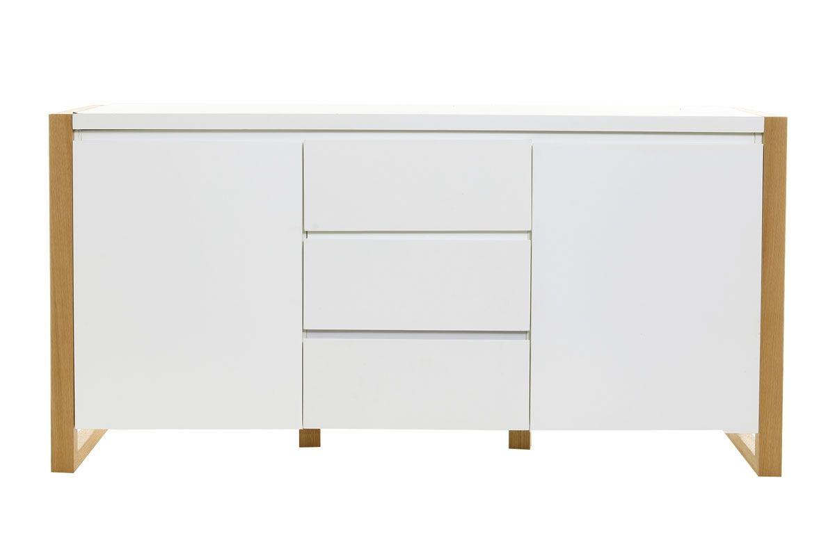 Buffet Design 2 Portes 3 Tiroirs Blanc Mat Armel Miliboo Tv
