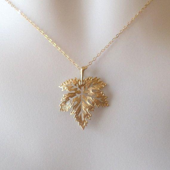 14k Rose Gold Necklace,Maple Leaf Necklace,Open Heart Necklace,Gold  Necklace,Gold  Heart,Gold Maple Leaf,Gift Idea Gift For Her