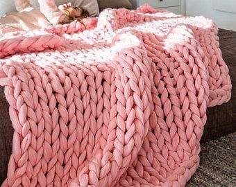 Photo of Chunky Knit Blanket, Choose Size, Pure Merino Throw Blanket, Giant Knit Blanket,…