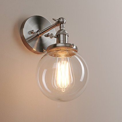 Pathson 15cm industrial vintage clear glass globe retro sconce wall pathson 15cm industrial vintage clear glass globe retro sconce wall light lamp fixture brushed mozeypictures Image collections