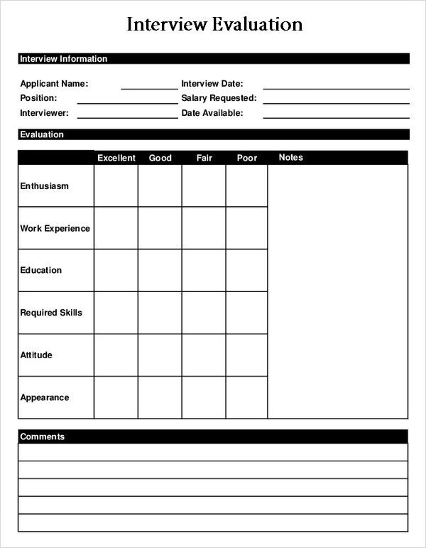 Sample Interview Evaluation Form Interview Evaluation Form