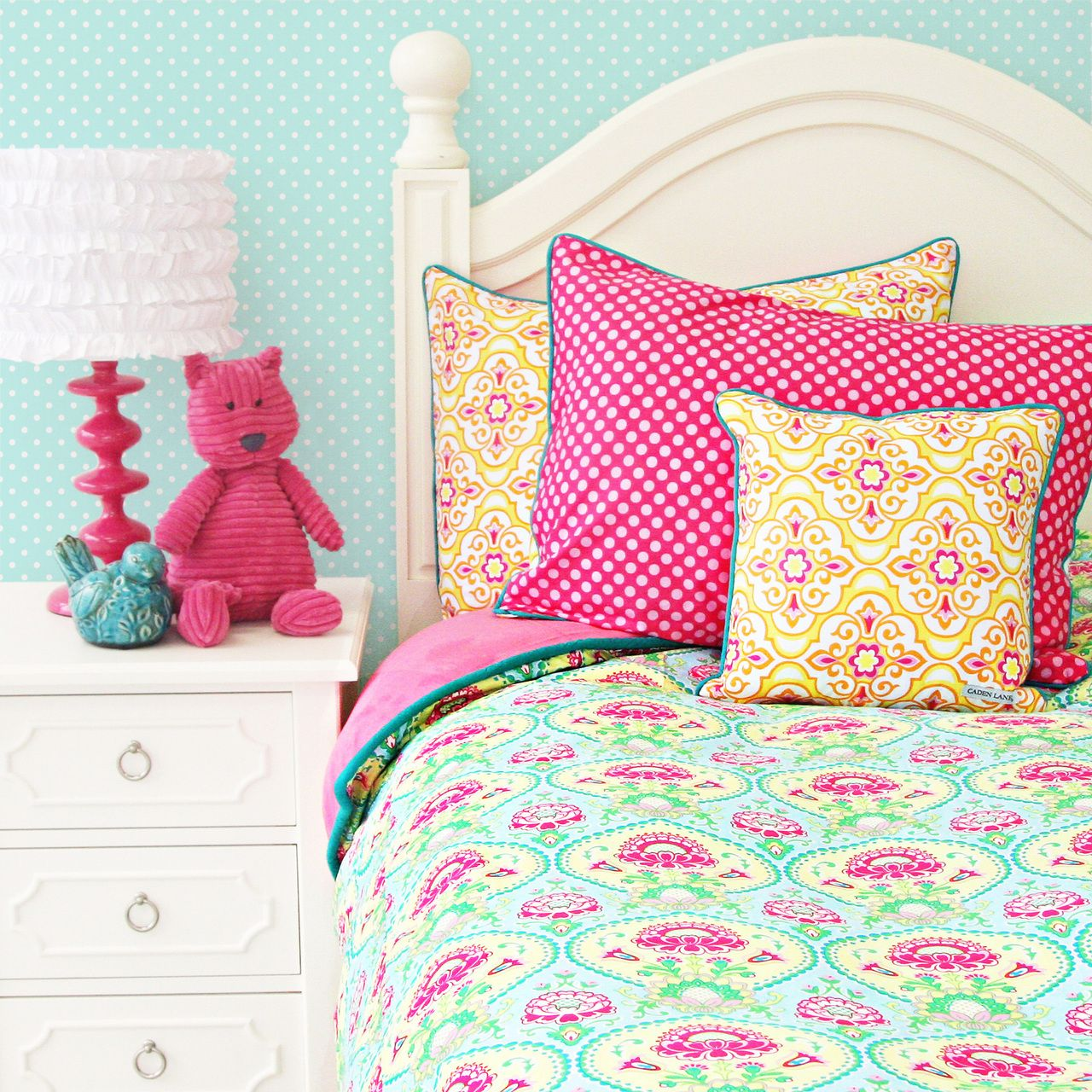 Turquoise and pink bedding - Caden Lane Baby Bedding Love The Pink And Aqua Damask With Pops Of Yellow So