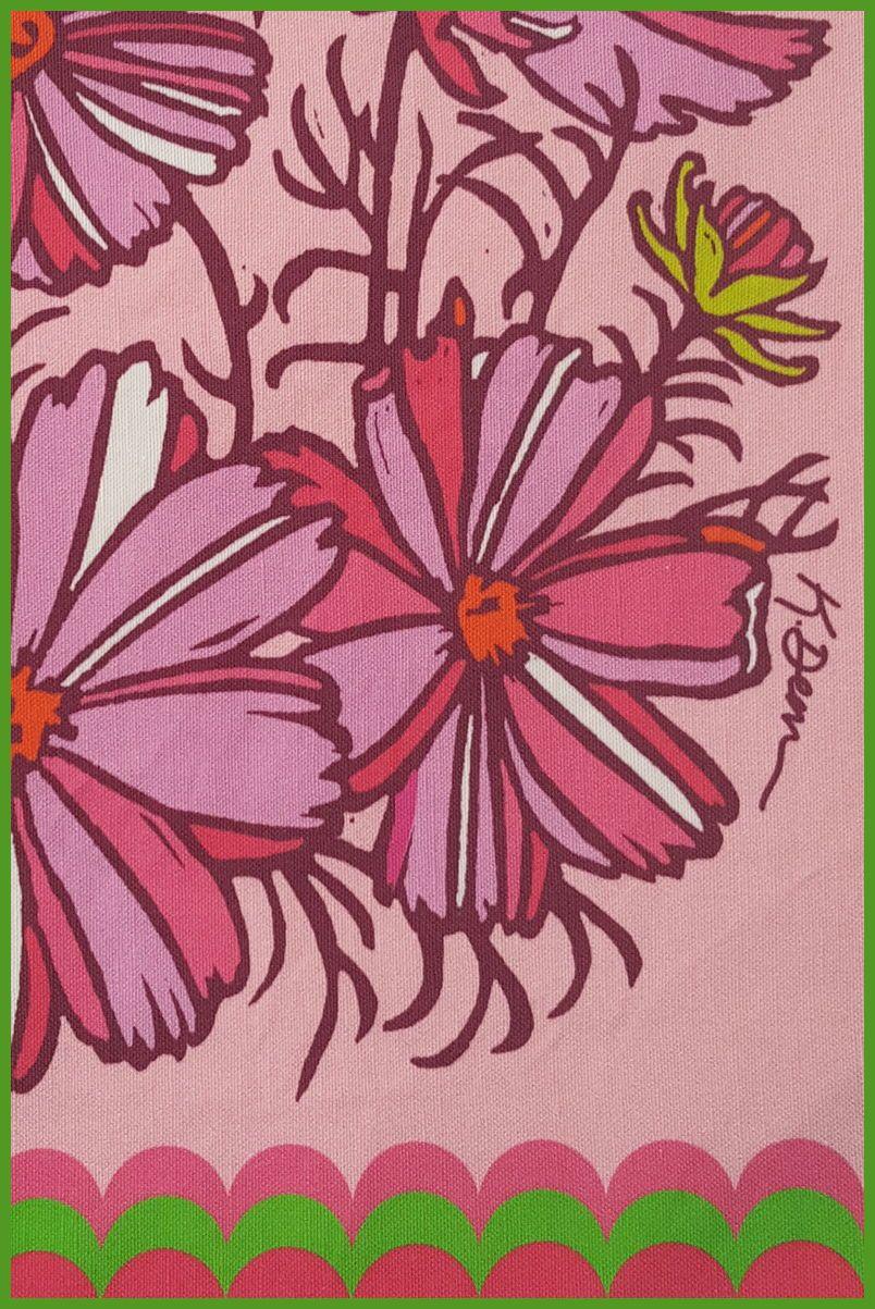 Pink Cosmos Vintage Tea Towel Kitchen Gift Vintage Flowers Etsy Vintage Tea Towels Decorative Hand Towels Block Printing Fabric
