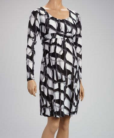 19f046ab87 This Black   White Tie-Back Maternity Empire-Waist Dress is perfect!   zulilyfinds