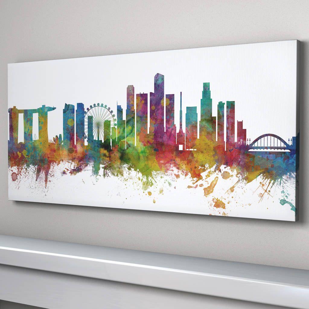Singapore Skyline Cityscape Art Print In 2019 Cityscape