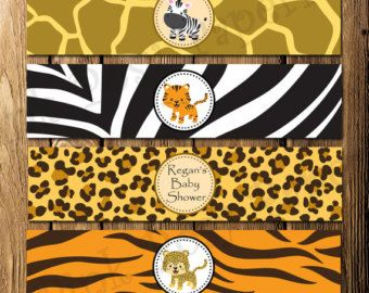 Printable Safari Baby Shower Water Bottle от PinkPosyPaperie