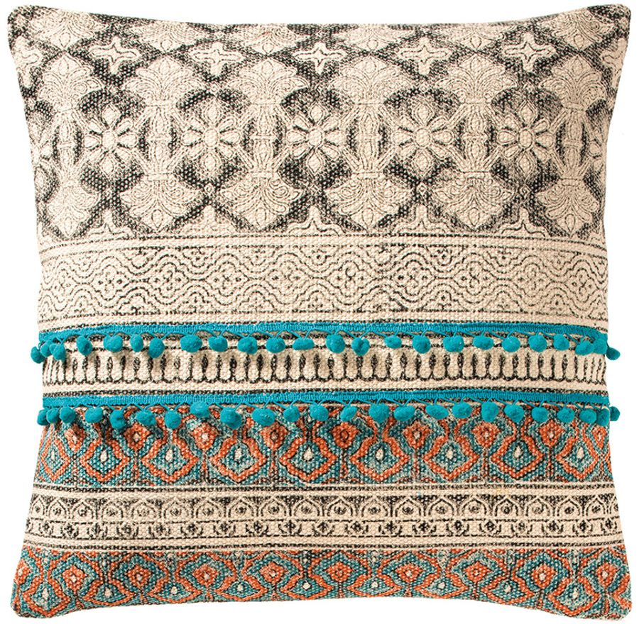 Embroidered pompom stripe cushion tribal indian pillow tribal