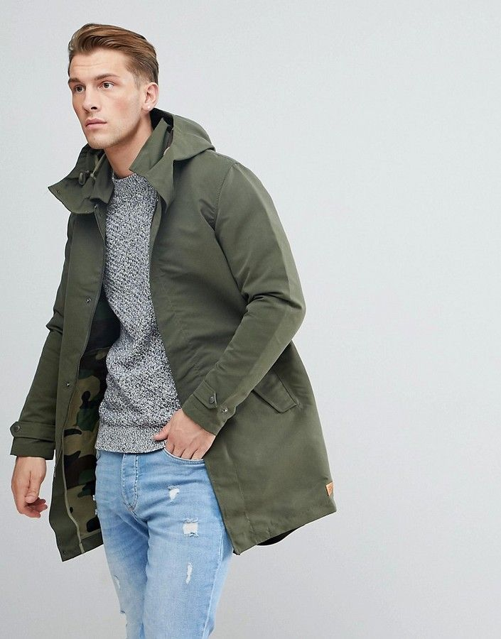 a2949570f Jack & Jones Originals Light Weight Parka With Camo Lining | fashion ...