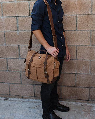 1bc97962ec Military Vintage Laptop Canvas Leather Messenger Bag - Serbags Brand ...