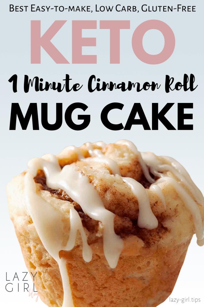 1 Minute Keto Cinnamon Roll Mug Cake in 2020   Cinnamon ...