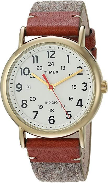Amazon.com: Timex Unisex TW2R42100 Weekender 38 Tan/Brown/Cream Fabric/Leather Strap Watch: Watches   38mm watch. Timex. Leather weekender