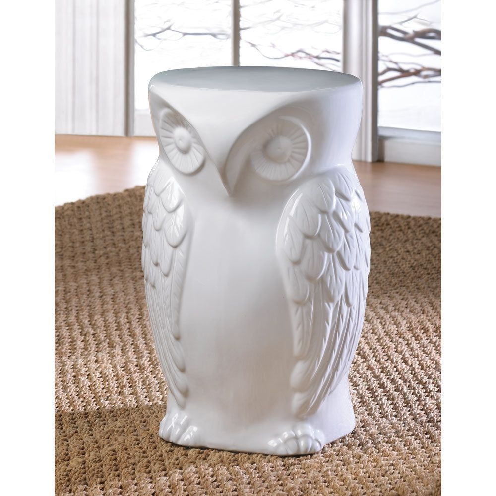 White Owl Ceramic Decorative Accent End Side Table Plant Stand Home/Garden  Decor