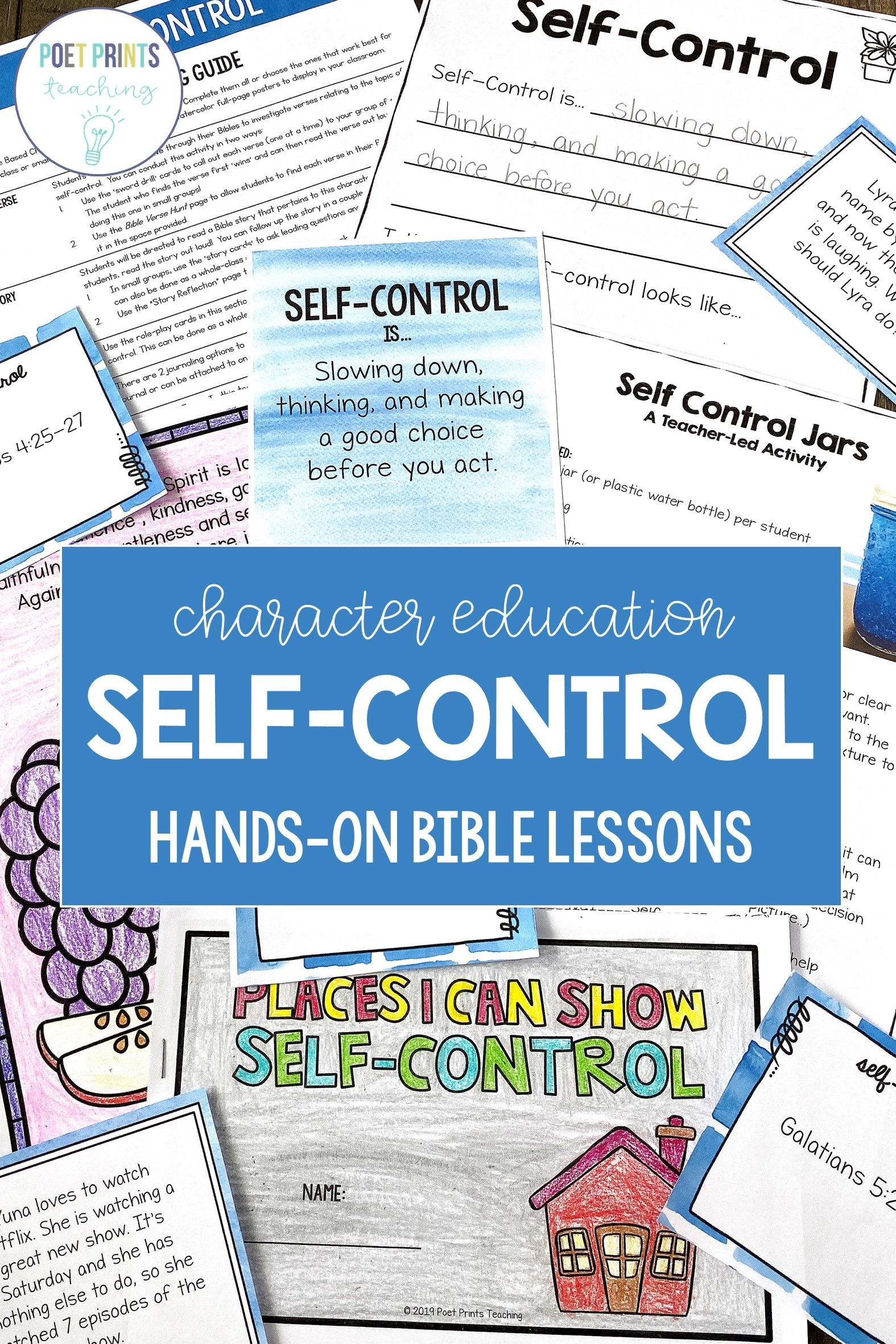 Self Control Bible Based Character Education Lessons