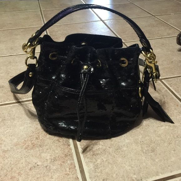 Coach poppy black sequin bucket bag Very nice, like new coach poppy black sequin bucket bag. Coach Bags Totes