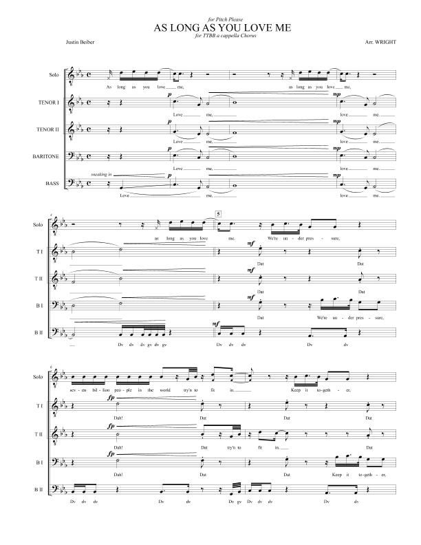 As Long As You Love Me by Justin Beiber for TTBB a cappella Chorus   A cappella. Sheet music. Justin beiber