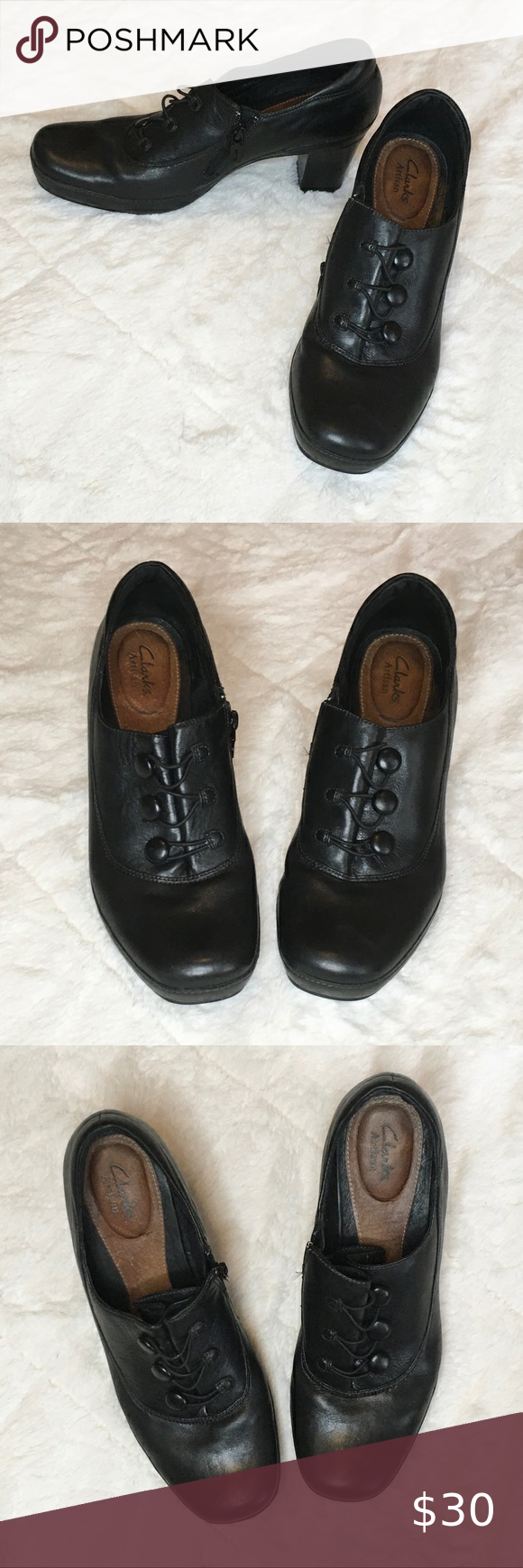 Clarks Active Air Black Leather Heeled