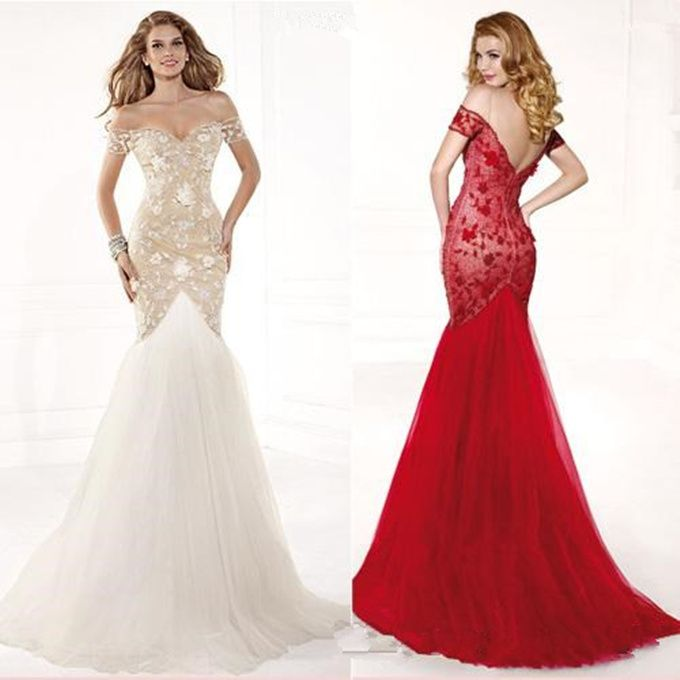 Cheap Sale 2015 Elegant Mermaid Ball Gown White Red Lace Formal ...
