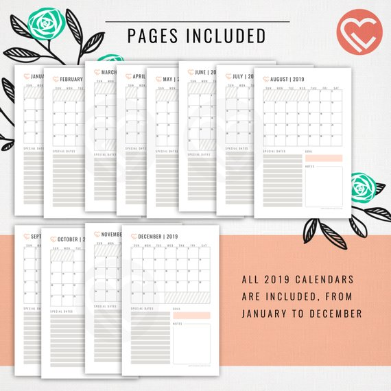 2019 Calendars - Printable Pages | 2019 only | 4 Sizes: L