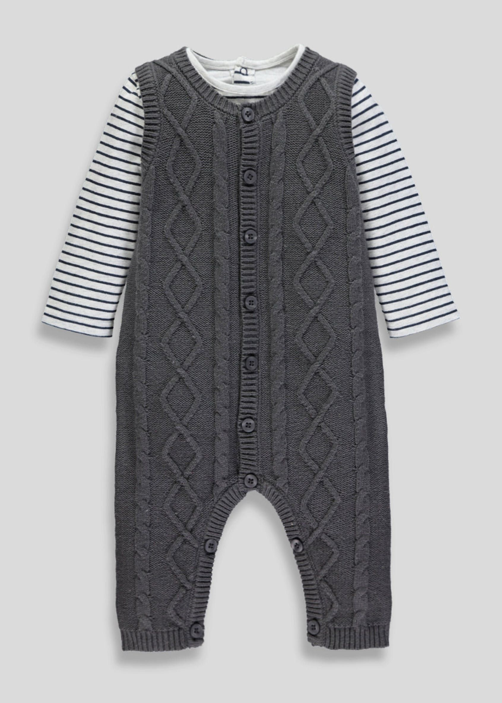 8271b200e364 Unisex Knitted Romper   T-Shirt Set (Tiny Baby-18mths)