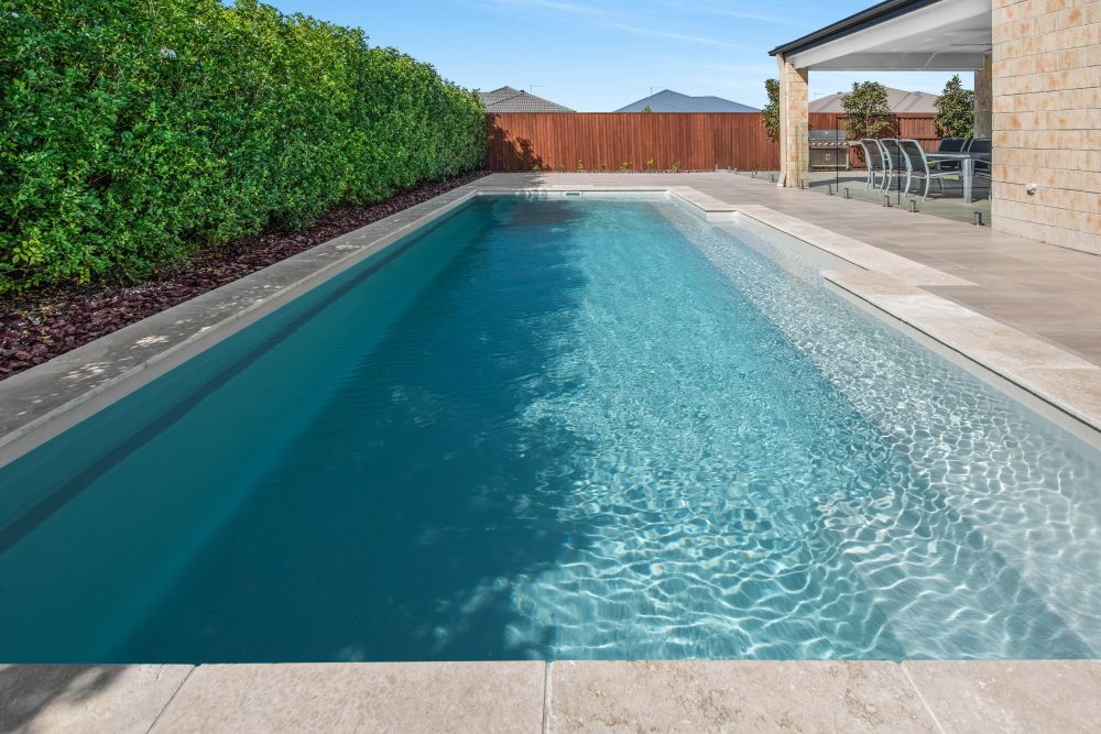 Symphony 9 Silver Pearl Installed By Narellan Pools Sunshine Coast Moreton Bay In 2021 Pool Colors Pool Landscape Design Swimming Pool Designs