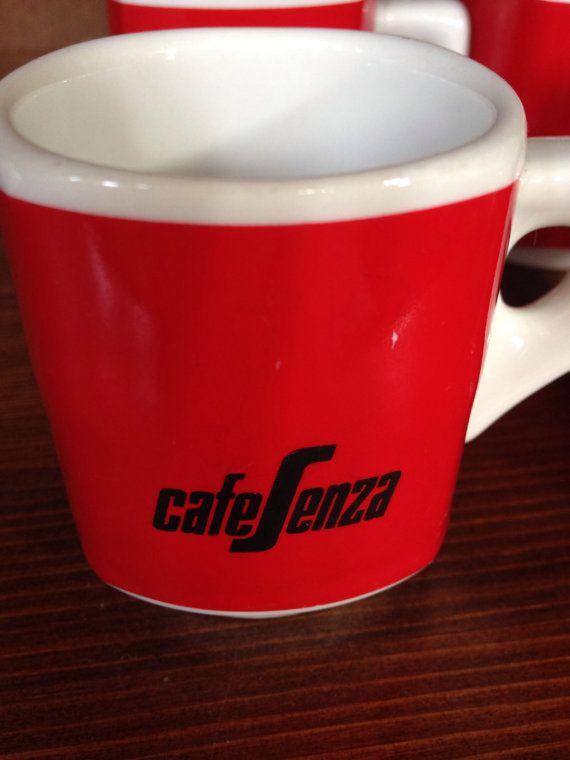Red segafredo espresso cups set of 4 by MontysItalianvintage