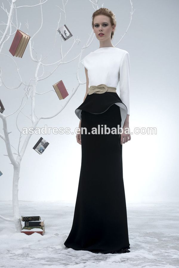 Elegant Long Sleeve Evening Gowns White And Balck Two Piece Black ...