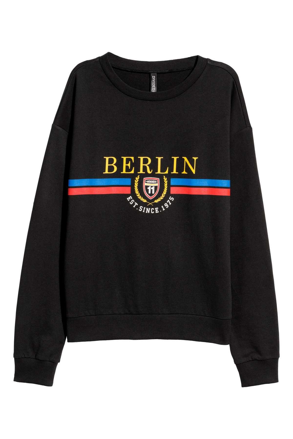 f3912ba6 Sweatshirt with Printed Design | Black/Berlin | WOMEN | H&M US ...