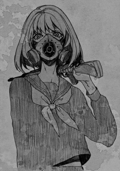 Dark anime girl gasmask