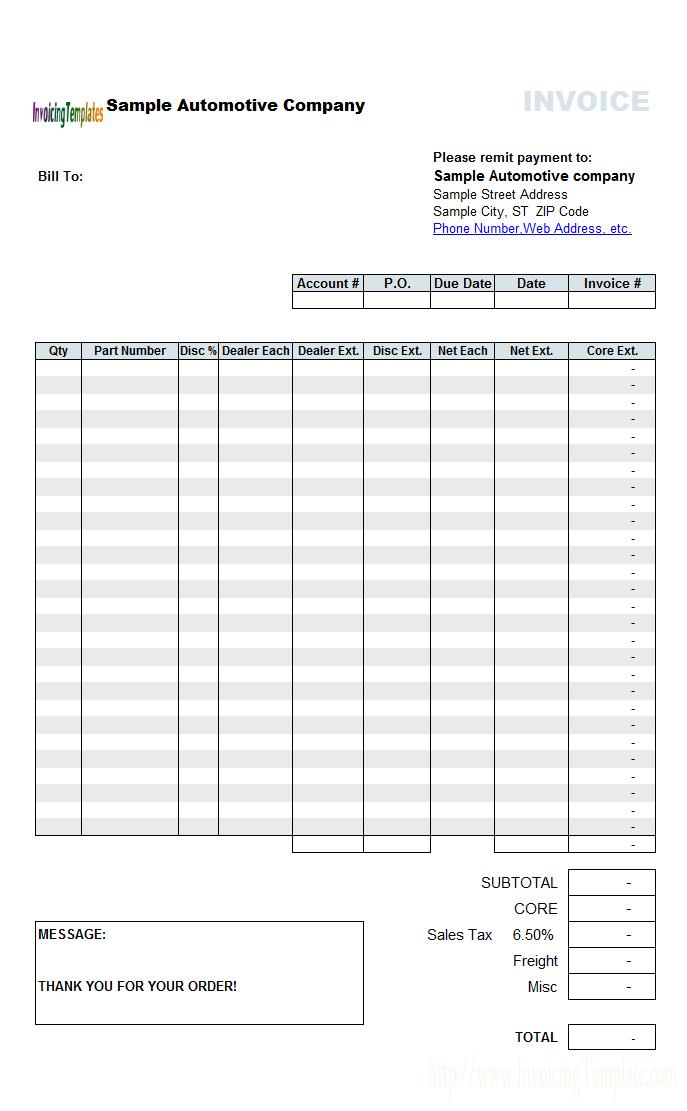 automotive sample invoice template