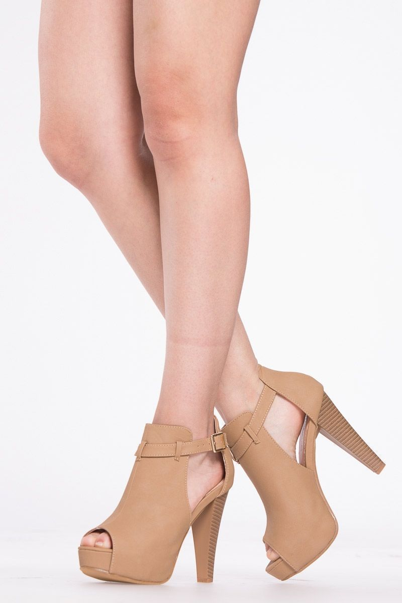 32a3ccc99d2 Tan Faux NuBuck Peep Toe Chunky Platform Heels   Cicihot Heel Shoes online  store sales Stiletto Heel Shoes