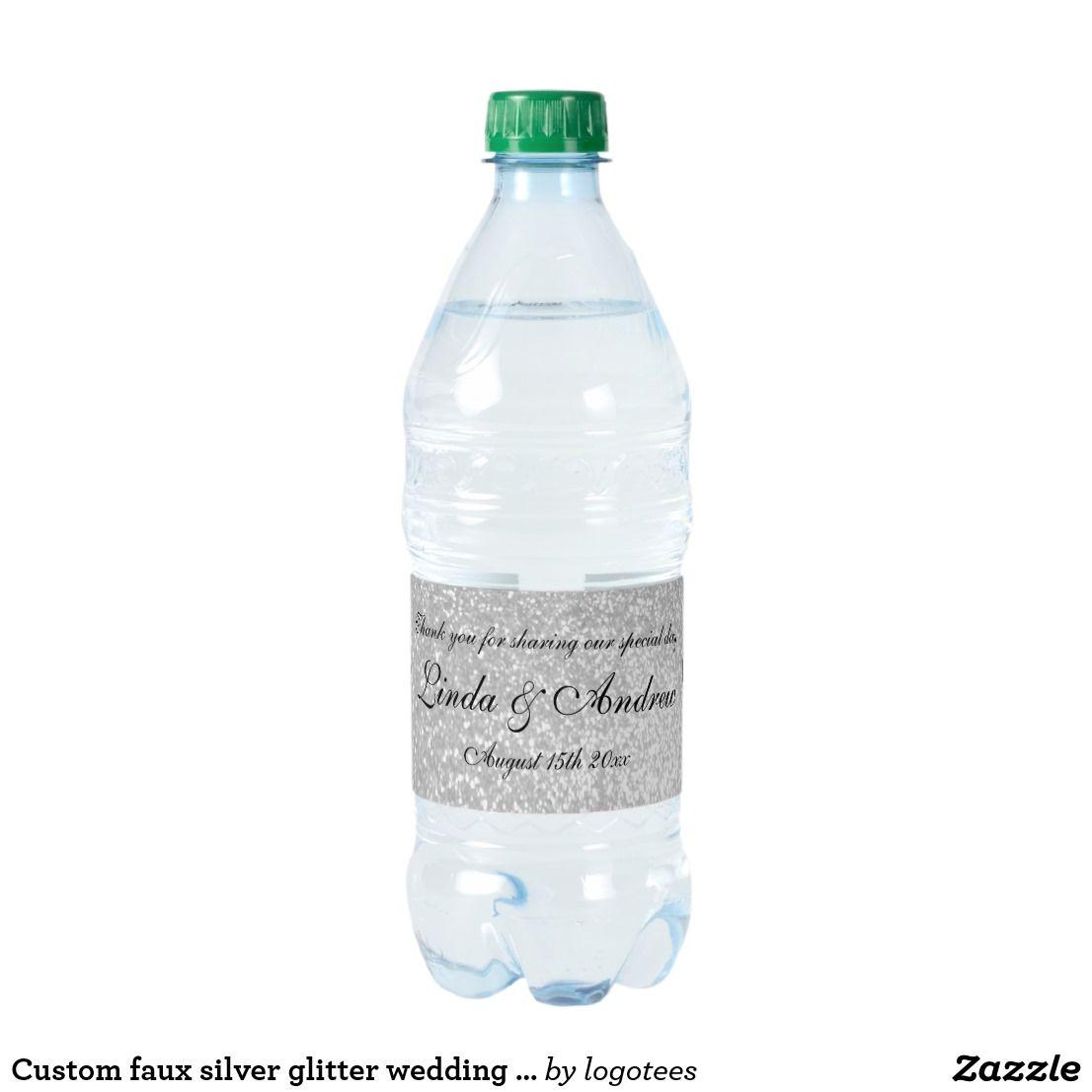 Custom faux silver glitter wedding party favor water bottle label ...