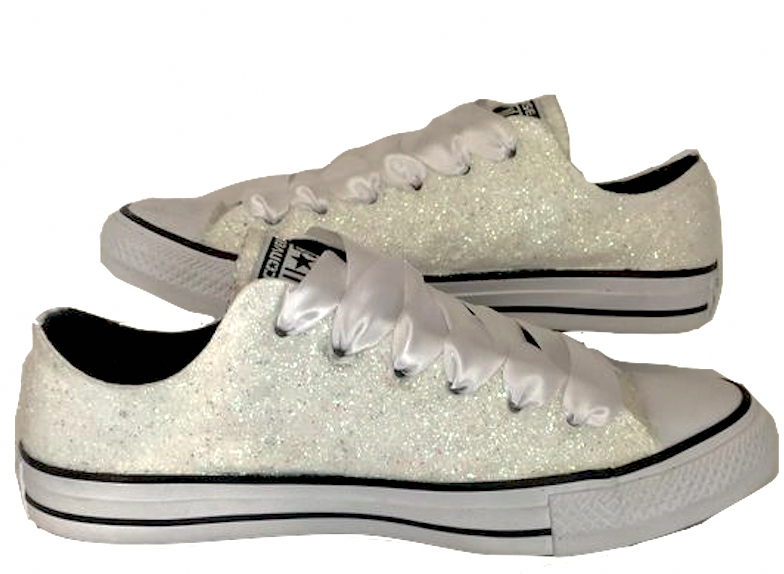 cdb9938c129da8 Womens Sparkly White or Ivory Glitter Converse All Stars Bride Wedding gift  Shoes Sneakers  weddingshoes