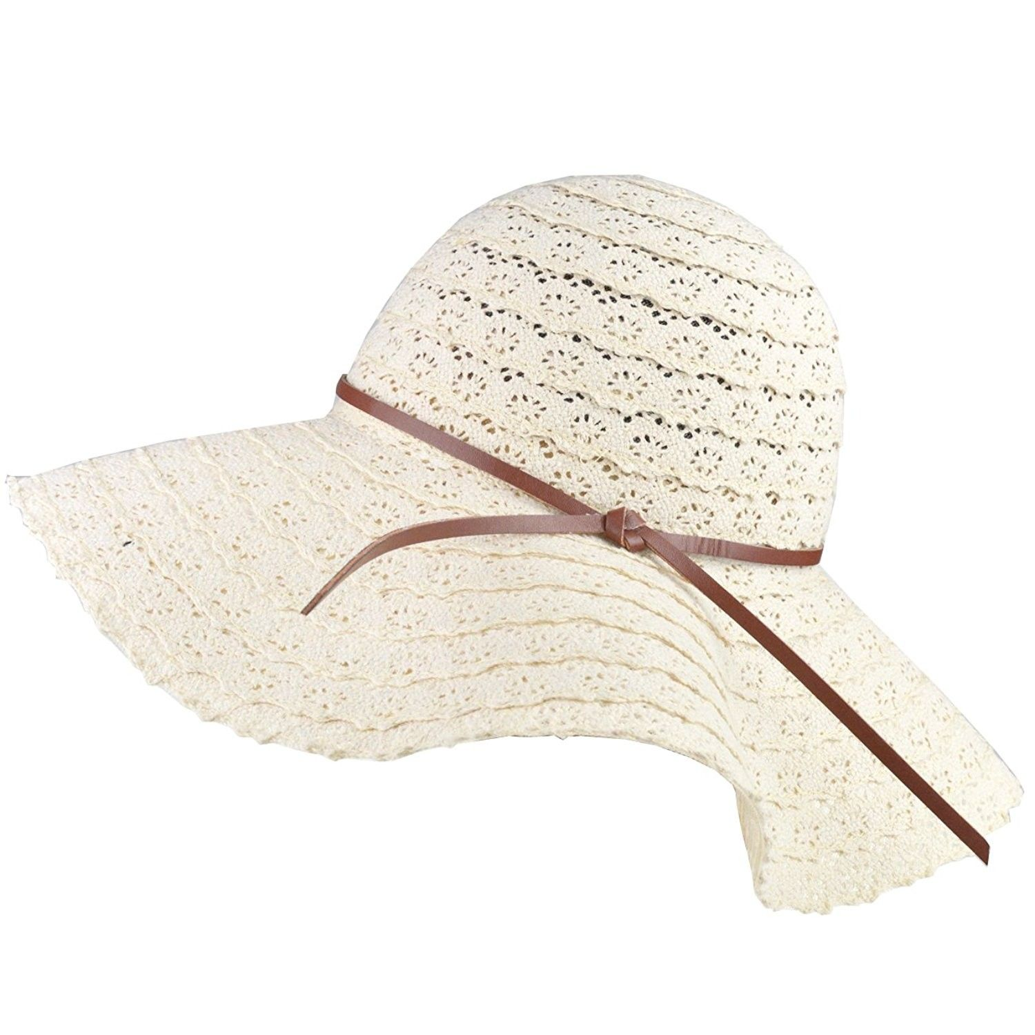 f11d609f33a Girls Floppy Straw Hat Wide Brim Beach Sun Hats For Women Roll up Packable  UPF 50