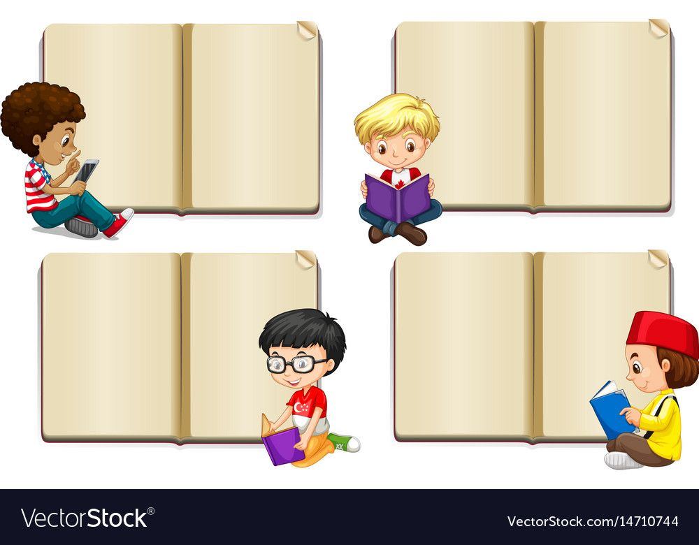 Blank Book Template With Boys Reading Illustration Download A Free Preview Or High Quality Adobe Islamic Kids Activities School Coloring Pages School Painting